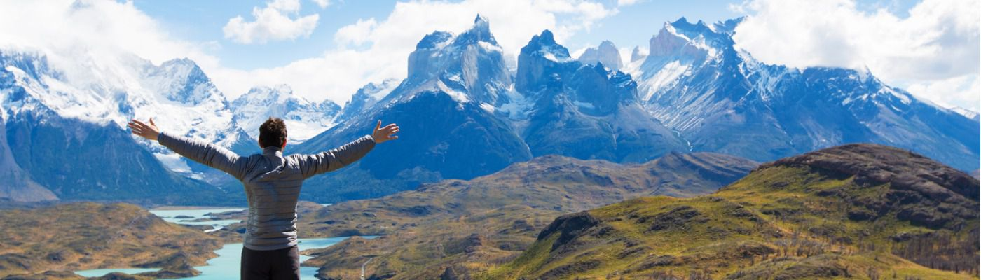 man hiking in patagonia picture id516289698