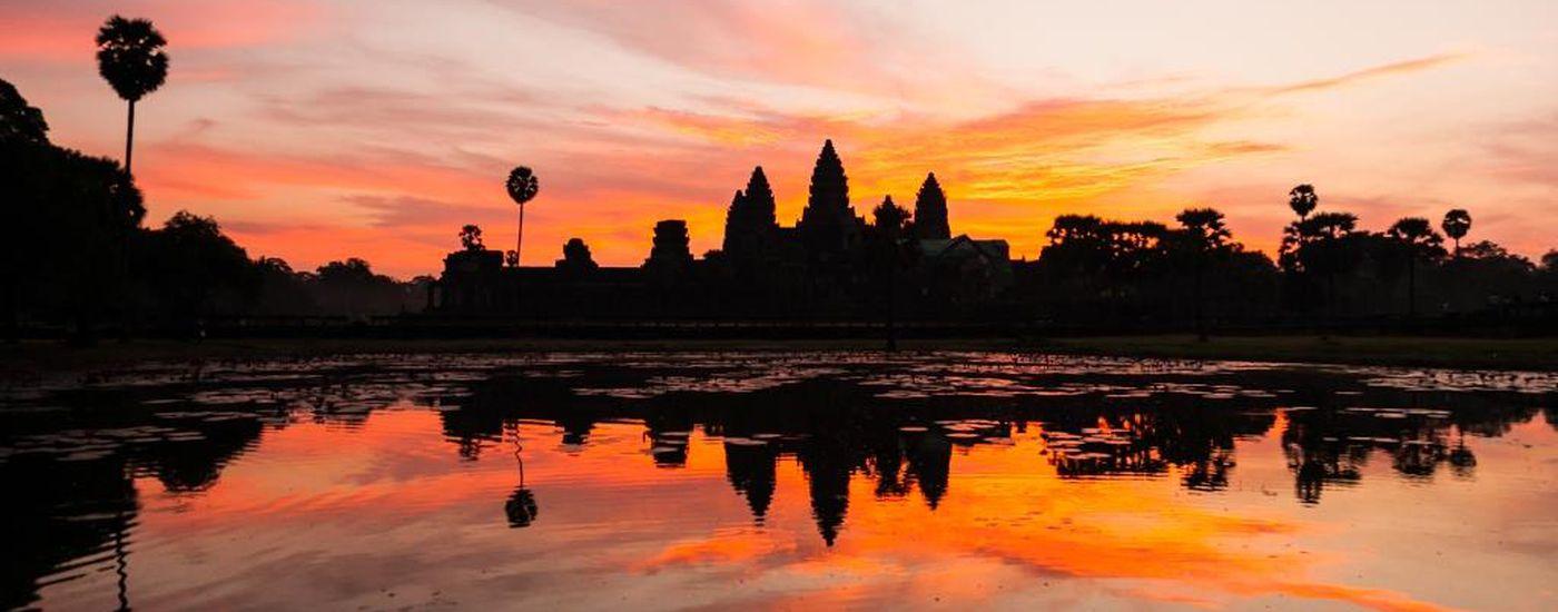Kambodscha Siem Reap Angkor Abendrot Sonnenuntergang Stimmung Besichtigung