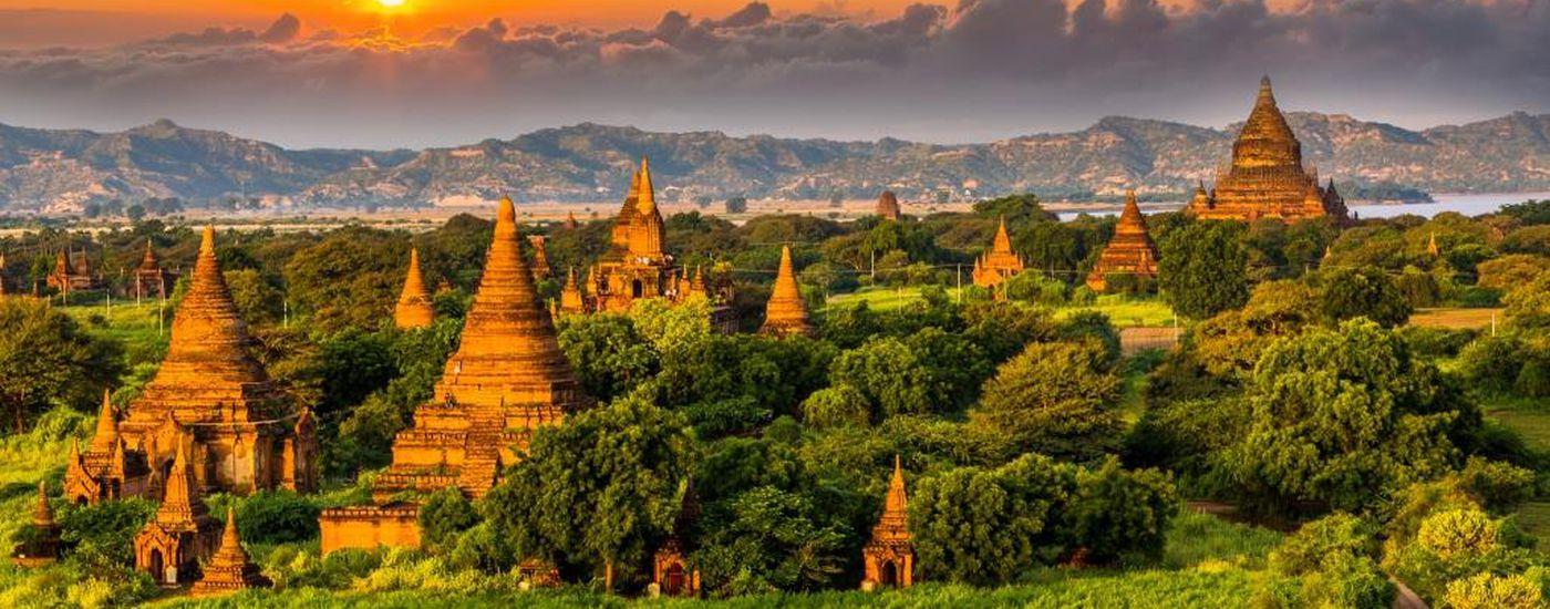 Myanmar Bagan Sonnenuntergang Sonnenaufgang