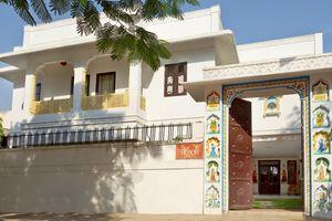 Indien Jaipur City Palace Stadtpalast Frau Schleier schoen