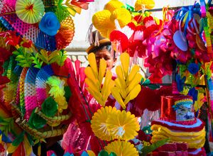 Stand mit Hüten in La Paz, Bolivien