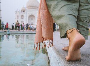 Indien Agra Taj Mahal Fuesse barfuss Tempel Erlebnis