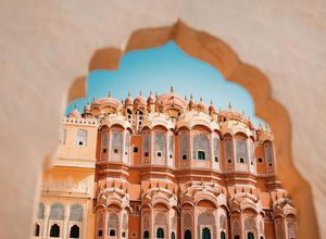 Indien Jaipur Palast der Winde Erker Fenster