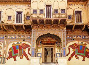 Indien Mandawa Painted Haveli Haweli Zeichnung farbenfroh super Kunst