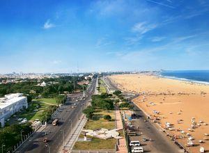 Indien Chennai Marina Strand Erholung Urlaub