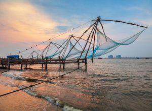 Indien Kochi Chinesische Fischernetze Postkartenmotiv
