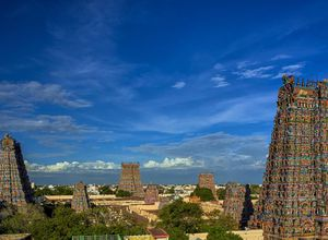 Indien Madurai Tempel Gopurams Skyline Stadt Urlaub