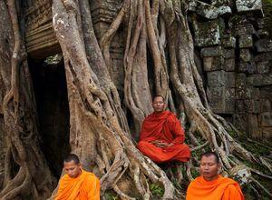 Kambodscha Siem Reap Einheimische Beten Meditieren Entspannung