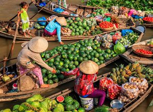 Vietnam Mekong Delta schwimmender Markt lecker Obst Gemuese