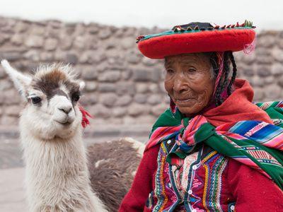 Cusco Lama Frau