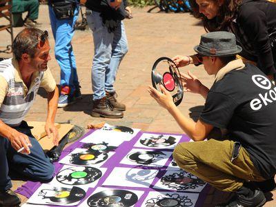 Kolumbien Bogotá Straßenkünstler