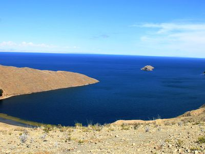 Bolivien Isla del Sol Ausblick Titikakasee