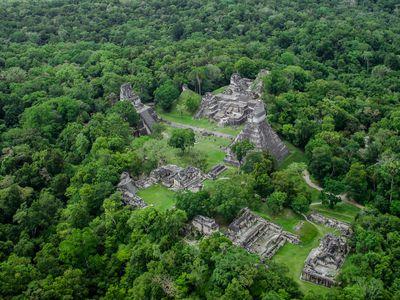 Guatemala Tikal Luftaufnahme