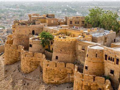 Indien Jaisalmer Fort Mauern lebhaft
