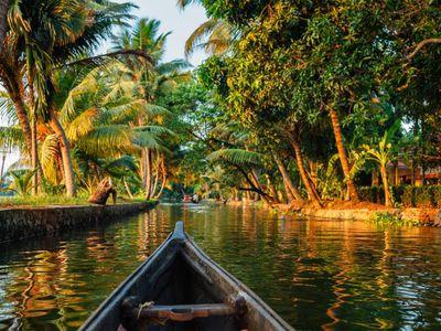 Indien Kerala Alleppey Backwaters Kanu Boot fahren