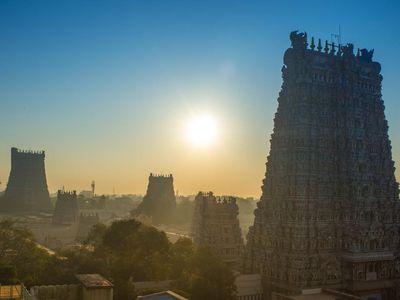Indien Madurai Abendsonne Aussicht Skyline
