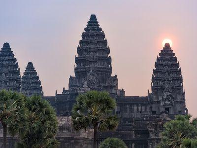 Kambodscha Siem Reap Angkor Wat Tempel Tour Sonnenuntergang
