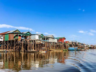 Kambodscha Tonle Sap See Stelzendorf Ausflug