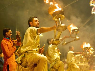 Indien Varanasi Ganges Zeremonie Ganga Aarti