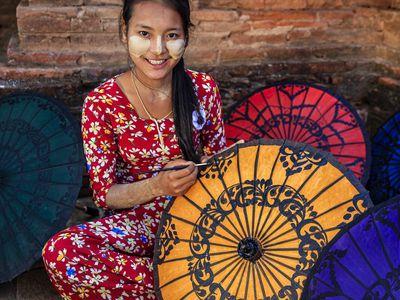 Myanmar Handwerskunst Einheimische