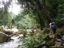Kolumbien Santa Marta Trekking Ciudad Perdida Wanderer am Fluss