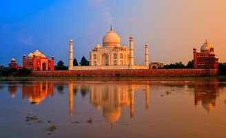 Indien Agra TajMahal Palast See Sonnenuntergang