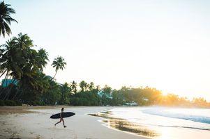 Sri Lanka Mirissa Strand Surfen Baden Sonnenuntergang