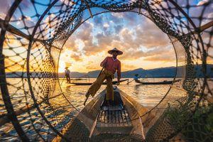 Myanmar Inle See Fischer Netz Angeln