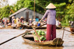 Vietnam Mekong Delta schwimmender Markt